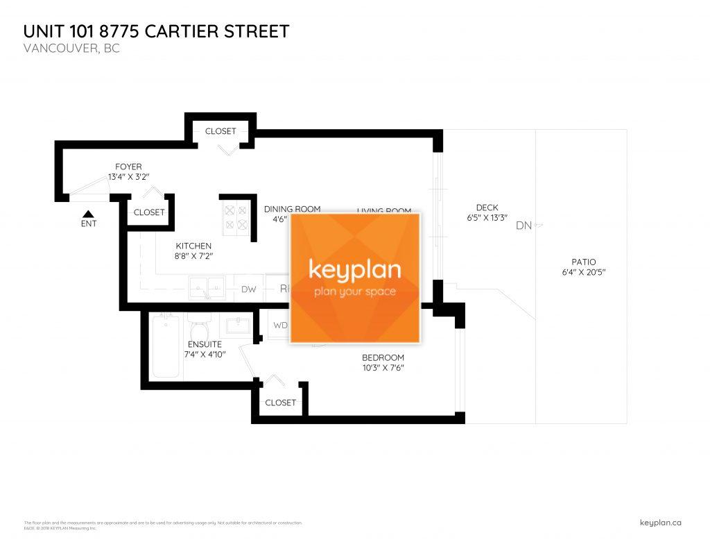 Unit 101 8775 Cartier Street Vancouver Cartier House Floor Plan Keyplan Measuring Design